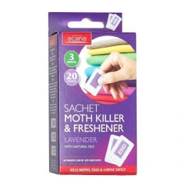 Acana Clothes Moth Killer Sachets and Lavender Freshener - 20 Pack - FREE P&P